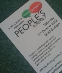 Poster for York+NYorks Peoples Assembly event.