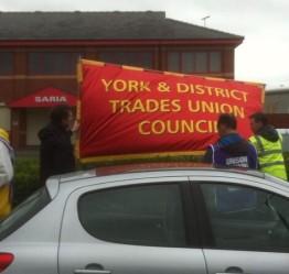 York TUC banner arrives on picket line