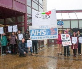 Protesters outside BMA Barbican conference